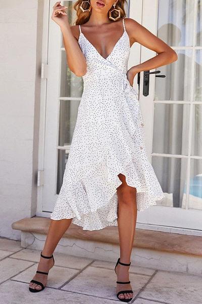 Sling Printed Wave Point V-Neck Dress