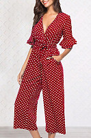 Deep V Neck  Dot  Half Sleeve Jumpsuits