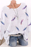 Round Neck Feather Printed Half Sleeve Blouse