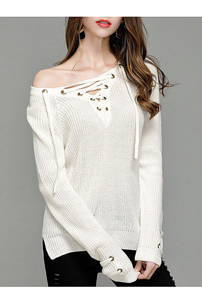 V-Neck Lace-Up  Plain Sweater
