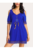 V Neck  Decorative Lace  Plain  Short Sleeve Casual Dresses