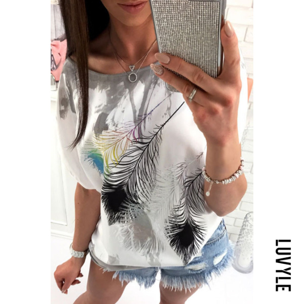 Gray One Shoulder Printed Batwing Sleeve T-Shirts Gray One Shoulder Printed Batwing Sleeve T-Shirts
