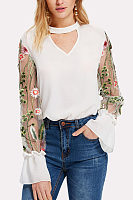Halter  See Through  Embroidery Patchwork  Bell Sleeve  Blouses