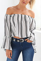 Off Shoulder  Striped  Bell Sleeve  Blouses
