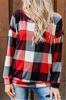 Round Neck Long Sleeve Plaid T-shirt