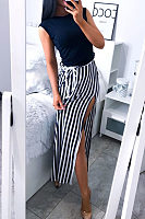 Vertical Striped Side Slit Maxi Dresses