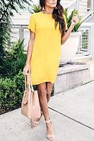 Round Neck  Zipper  Plain  Short Sleeve Casual Dresses