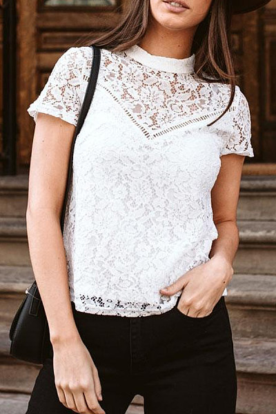 Band Collar  Patchwork  Lace  Blouses