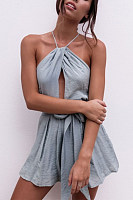 Cross Straps  Belt  Plain  Playsuits