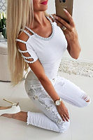 Women Off Shoulder Beading T-Shirts