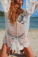 Bohemian Plain Hollow Out Transparent Bikini Lace Smock