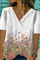 V-neck position-print casual T-shirt