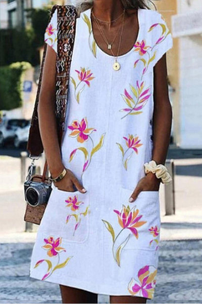 Casual Printed Button Pocket Strap Dress