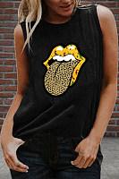Lip Round Neck Sleeveless T-shirt