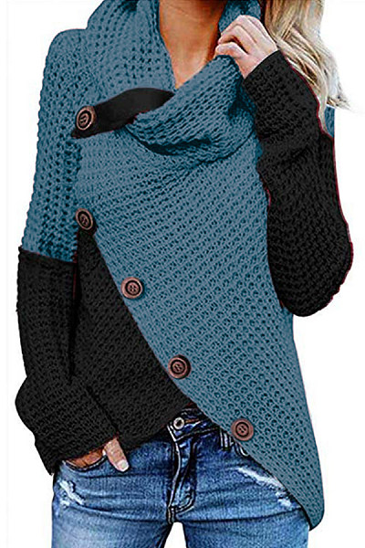 Heap Collar Long Sleeve Colouring Sweater