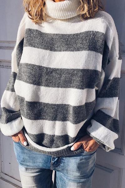 Short High Collar Striped Casual Sweater
