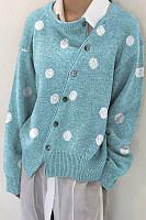 Polka Dot Autumn And Winter Korean Slant Button Cardigan Jacket Sweater