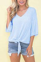 V Neck  Plain T-Shirts