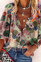 Women's lapel printed shirt