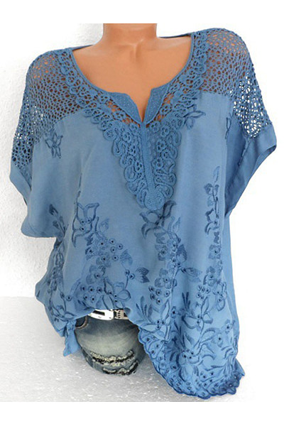 V Neck  Patchwork  Embroidery Blouses