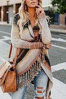Asymmetric Neck  Asymmetric Hem  Striped Cardigans