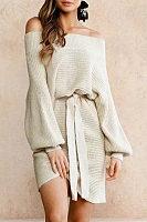 Open Shoulder  Belt  Lantern Sleeve  Long Sleeve Casual Dresses