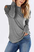 Crew Neck Lace Up Plain Shirt