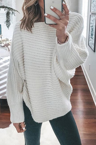 Batwing Sleeve Plain Loose-Fitting Sweater