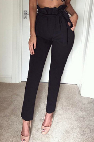 Ruched  Belt Pegged Pants