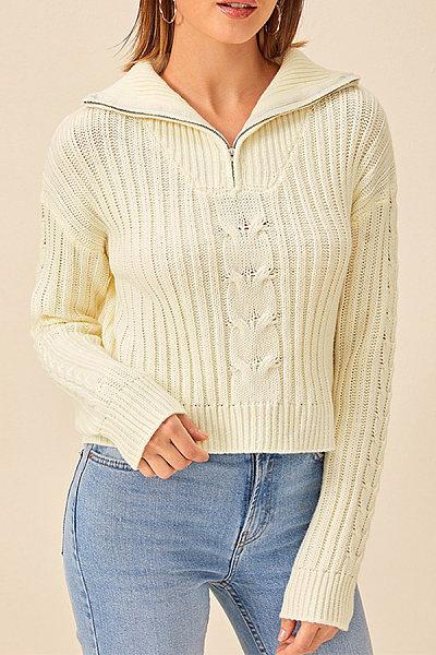Fold-Over Collar Zips Plain Sweater