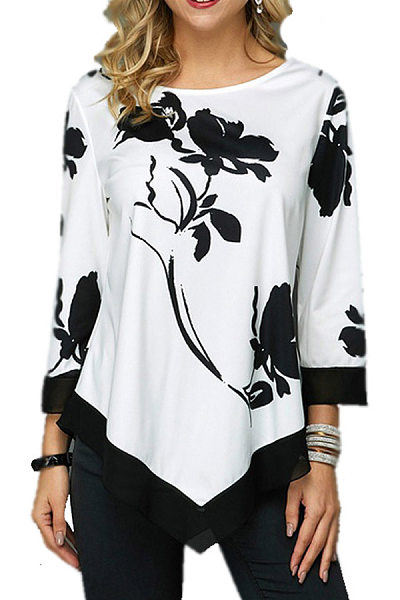 Casual Round Neck Floral T-Shirt