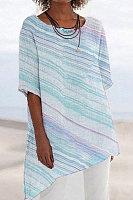 V-neck short sleeve solid color shirt