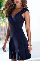 Deep V Neck  Backless  Plain  Short Sleeve Casual Dresses