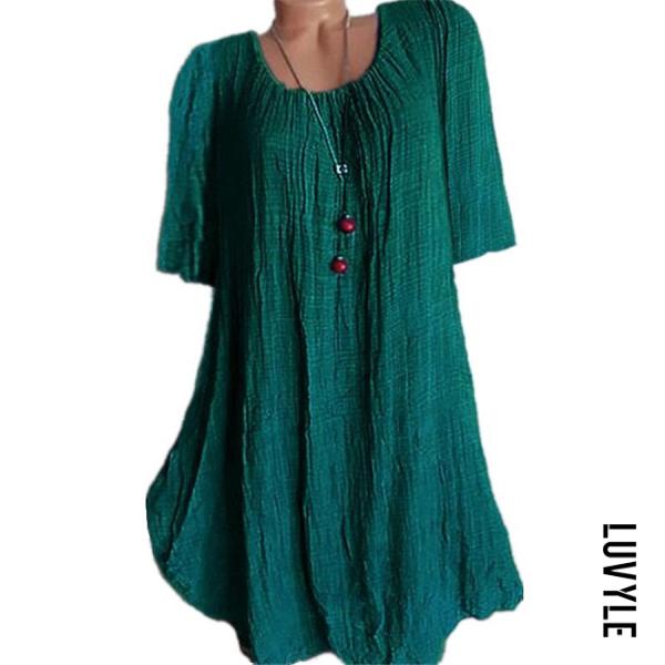 Green Casual Round Neck Pure Colour Half Sleeve Loose Dress Green Casual Round Neck Pure Colour Half Sleeve Loose Dress