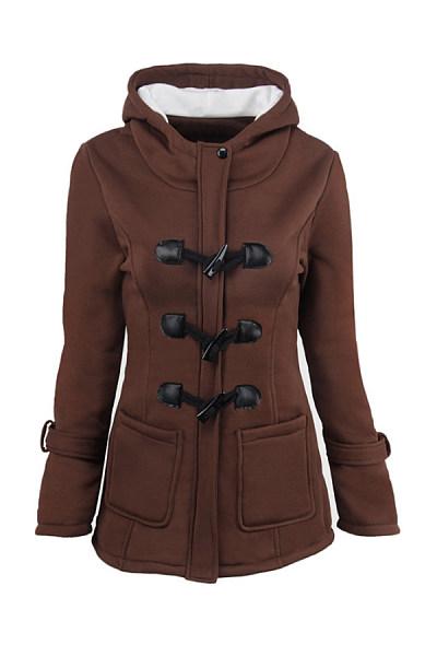 Hooded Long Sleeve Plain Casual Outerwear
