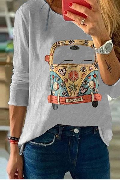 Women's Commuting Round Neck Long Sleeve Cartoon T-Shirt