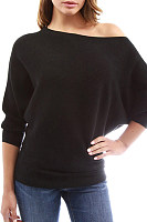 Shoulder Collar  Patchwork  Brief  Plain  Batwing Sleeve  Long Sleeve  Knit Pullover
