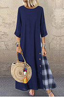 Round Neck Colouring Plaid Maxi Dress