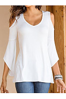 V-Neck  Cutout Flounce Lightweight Patchwork  Plain  Petal Sleeve Long Sleeve T-Shirts