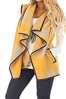 Fold Over Collar  Checkered Outerwear