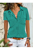 Turn Down Collar  Plain  Short Sleeve Blouse