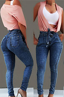 Daily Plain High Waist Tihgt Elastic Jeans