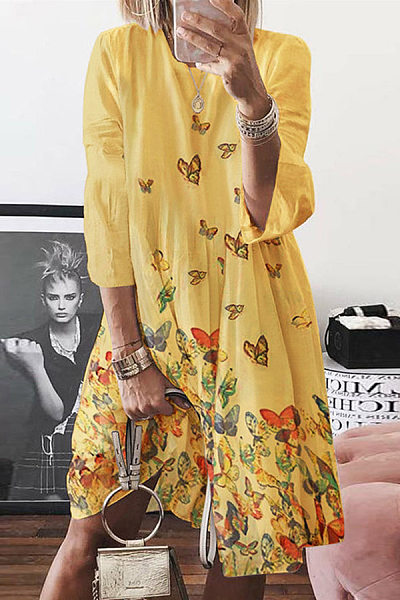 Crew neck abstract print mid-length sleeves midi dresses