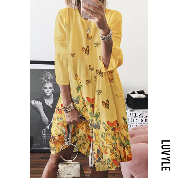 Yellow Crew neck abstract print mid-length sleeves midi dresses Yellow Crew neck abstract print mid-length sleeves midi dresses