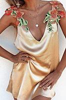 Spaghetti Strap  Embroidery  Sleeveless Casual Dresses