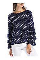 Round Neck Polka Dot Bell Sleeve T-Shirt