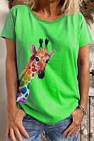 Giraffe Printed Round Neck T-shirt