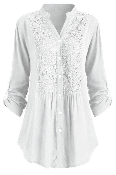 Tachibana  Patchwork  Elegant  Lace Plain  Long Sleeve   Blouse