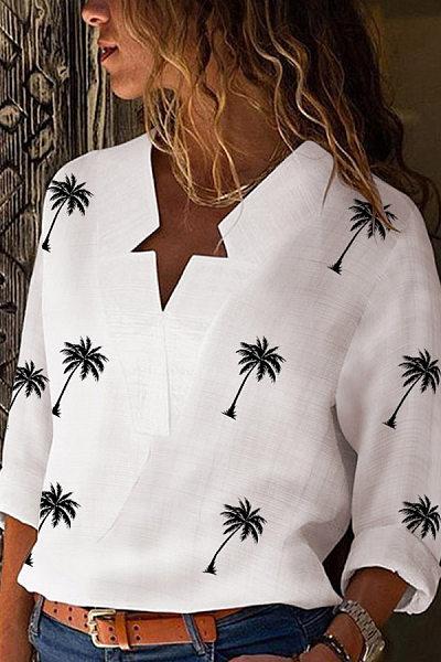 Casual Irregular Collar Printed Color Long Sleeve Blouse