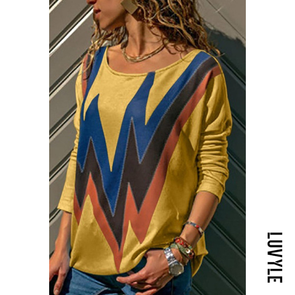 Yellow Fashion Casual Round Neck Color Block T-Shirt Yellow Fashion Casual Round Neck Color Block T-Shirt